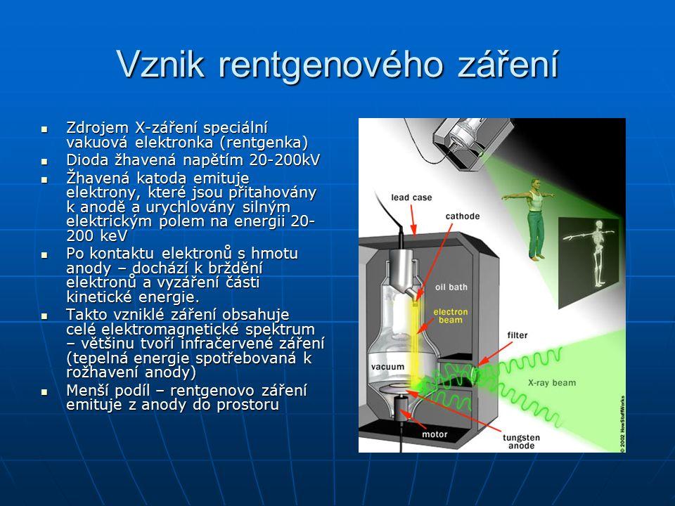 Vznik rentgenového záření Spektrum emitovaného záření: Spektrum emitovaného záření: Plynulost narušena ostrými špičkami – K-liniemi → spektrum tvoří dva rozdílné fyzikální procesy:Plynulost narušena ostrými špičkami – K-liniemi → spektrum tvoří dva rozdílné fyzikální procesy: Elektron je při dopadu na anodu bržděn následujícími příčinami:Elektron je při dopadu na anodu bržděn následujícími příčinami: Ke ztrátě kinetické energie dojde:Ke ztrátě kinetické energie dojde: 1.
