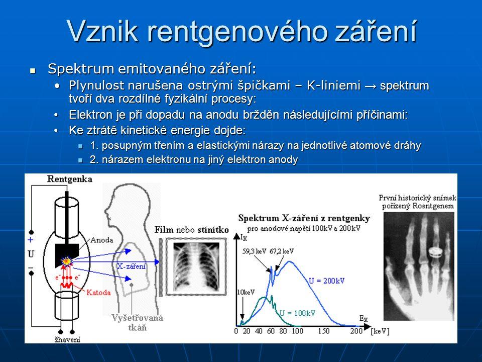 Vznik rentgenového záření Vysvětlení fyzikálních principů: Vysvětlení fyzikálních principů: ad1) dochází k plynulému brždění, vede k emisi záření se spojitým spektrem ad2) nárazem na elektron nacházející se např.