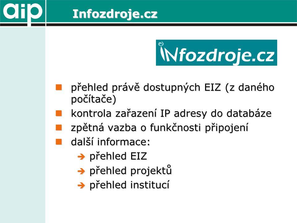 Infozdroje.cz přehled právě dostupných EIZ (z daného počítače) přehled právě dostupných EIZ (z daného počítače) kontrola zařazení IP adresy do databáze kontrola zařazení IP adresy do databáze zpětná vazba o funkčnosti připojení zpětná vazba o funkčnosti připojení další informace: další informace:  přehled EIZ  přehled projektů  přehled institucí