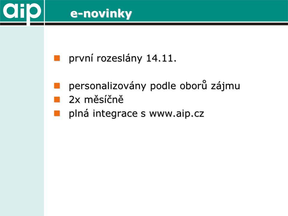 e-novinky první rozeslány 14.11. první rozeslány 14.11.