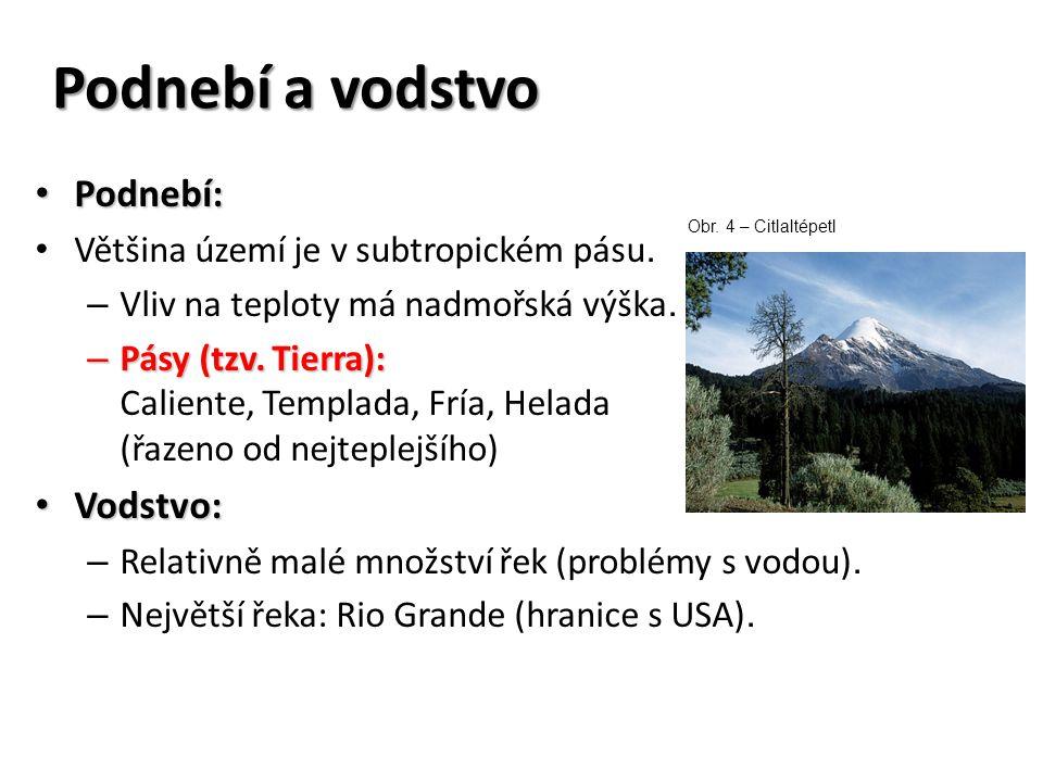 Podnebí a vodstvo Podnebí: Podnebí: Většina území je v subtropickém pásu. – Vliv na teploty má nadmořská výška. – Pásy (tzv. Tierra): – Pásy (tzv. Tie