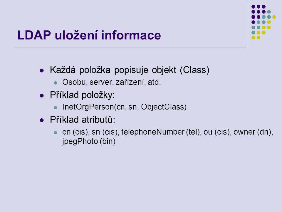LDAP uložení informace Každá položka popisuje objekt (Class) Osobu, server, zařízení, atd. Příklad položky: InetOrgPerson(cn, sn, ObjectClass) Příklad