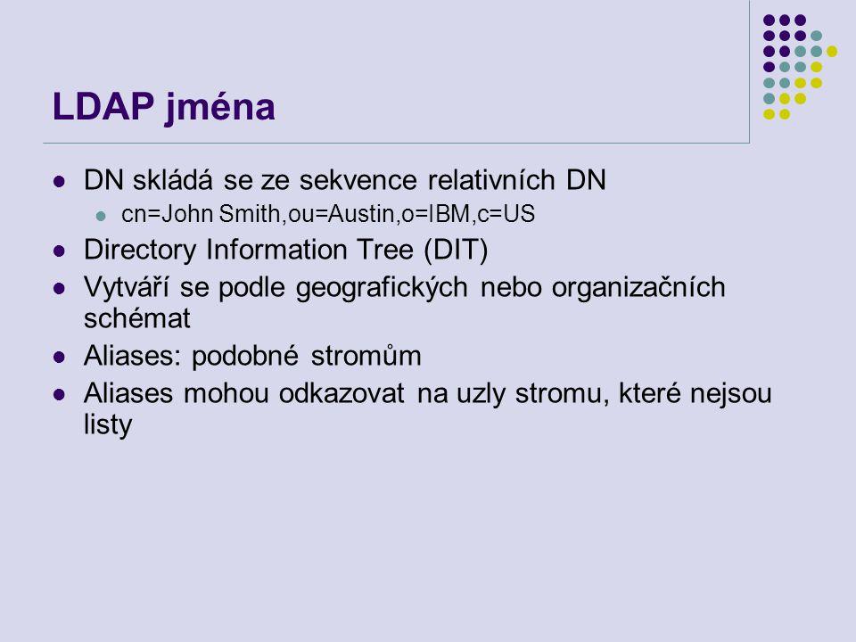 LDAP jména DN skládá se ze sekvence relativních DN cn=John Smith,ou=Austin,o=IBM,c=US Directory Information Tree (DIT) Vytváří se podle geografických