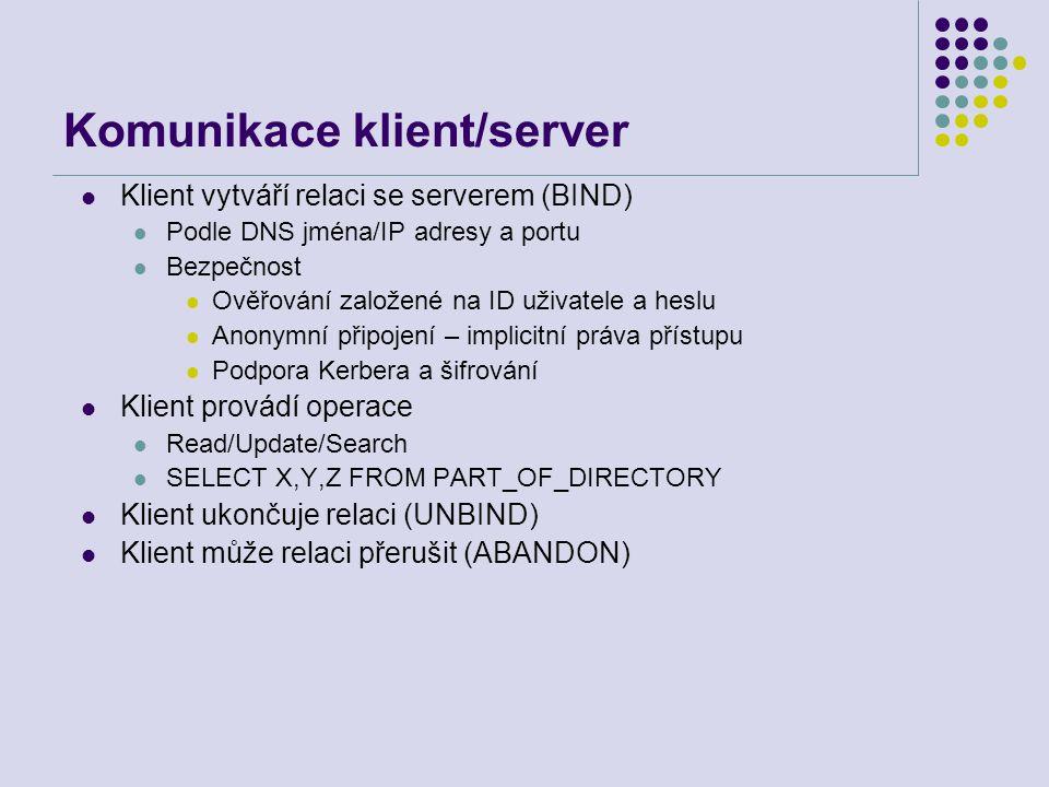 Komunikace klient/server Klient vytváří relaci se serverem (BIND) Podle DNS jména/IP adresy a portu Bezpečnost Ověřování založené na ID uživatele a he