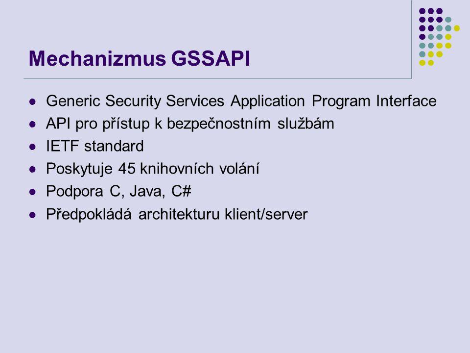 Mechanizmus GSSAPI Generic Security Services Application Program Interface API pro přístup k bezpečnostním službám IETF standard Poskytuje 45 knihovní