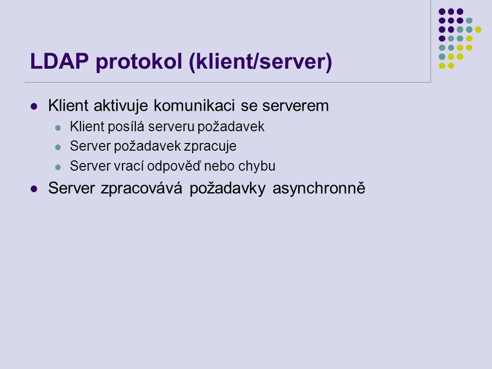 LDAP protokol (klient/server) Klient aktivuje komunikaci se serverem Klient posílá serveru požadavek Server požadavek zpracuje Server vrací odpověď ne