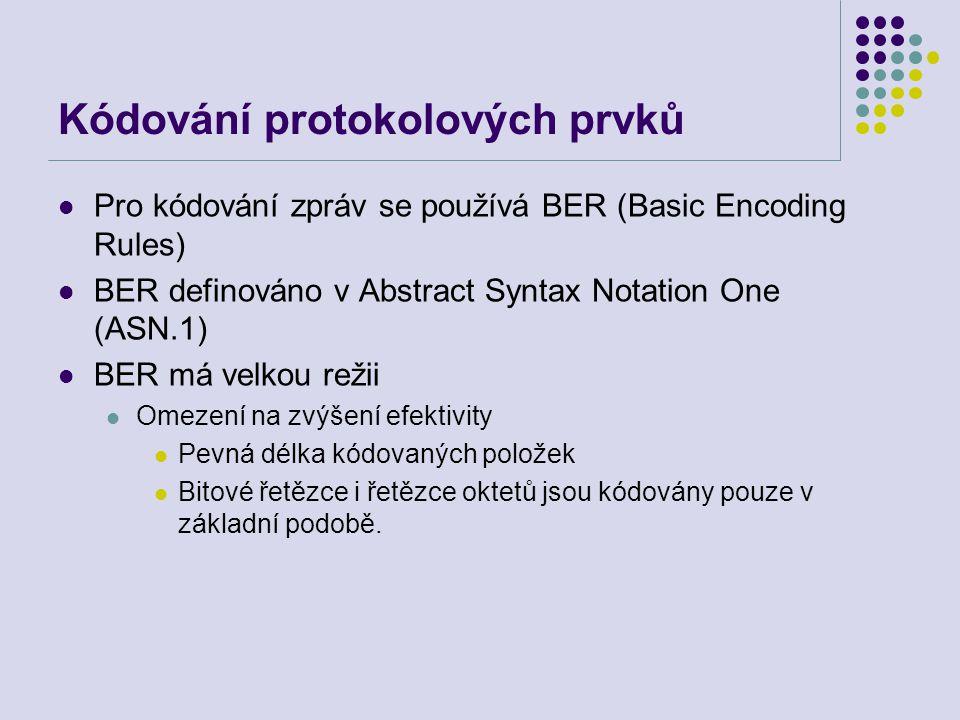 Kódování protokolových prvků Pro kódování zpráv se používá BER (Basic Encoding Rules) BER definováno v Abstract Syntax Notation One (ASN.1) BER má vel