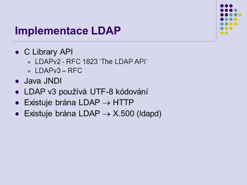 Implementace LDAP C Library API LDAPv2 - RFC 1823 'The LDAP API' LDAPv3 – RFC Java JNDI LDAP v3 používá UTF-8 kódování Existuje brána LDAP  HTTP Exis