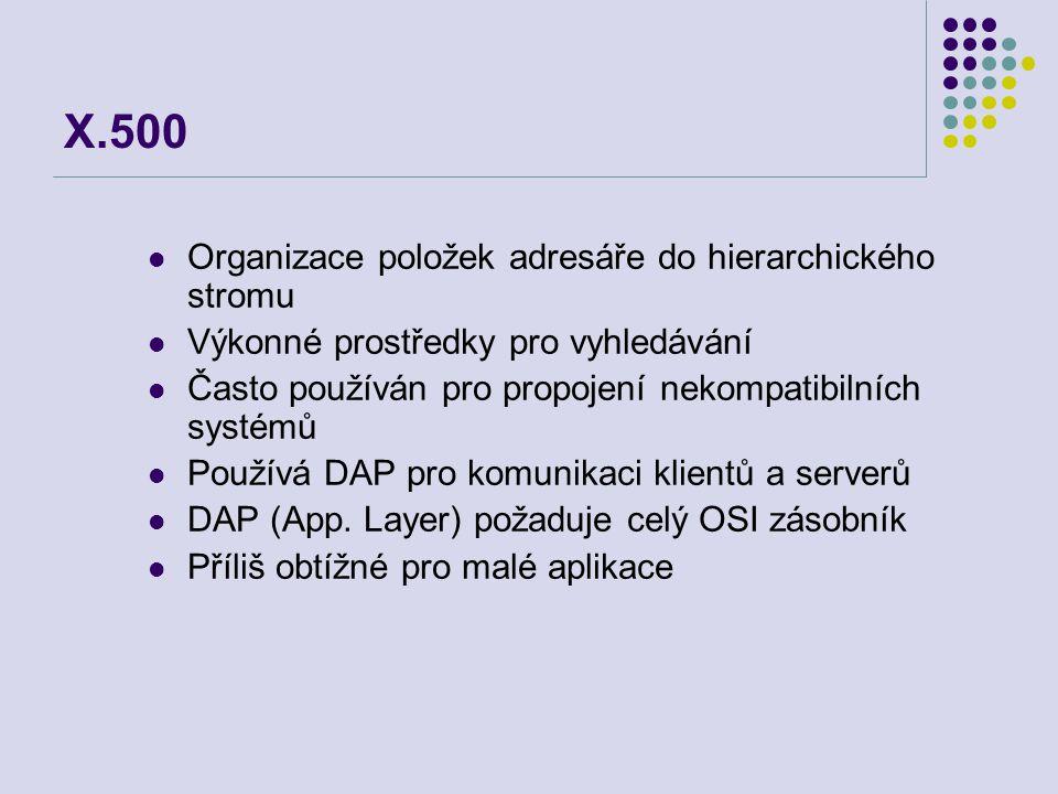 X.500 Organizace položek adresáře do hierarchického stromu Výkonné prostředky pro vyhledávání Často používán pro propojení nekompatibilních systémů Po