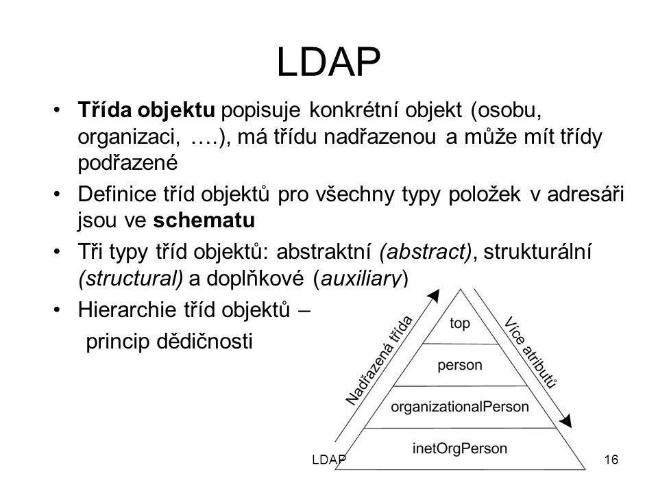 LDAP Třída objektu popisuje konkrétní objekt (osobu, organizaci, ….), má třídu nadřazenou a může mít třídy podřazené Definice tříd objektů pro všechny