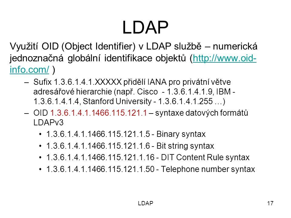 Využití OID (Object Identifier) v LDAP službě – numerická jednoznačná globální identifikace objektů (http://www.oid- info.com/ )http://www.oid- info.c