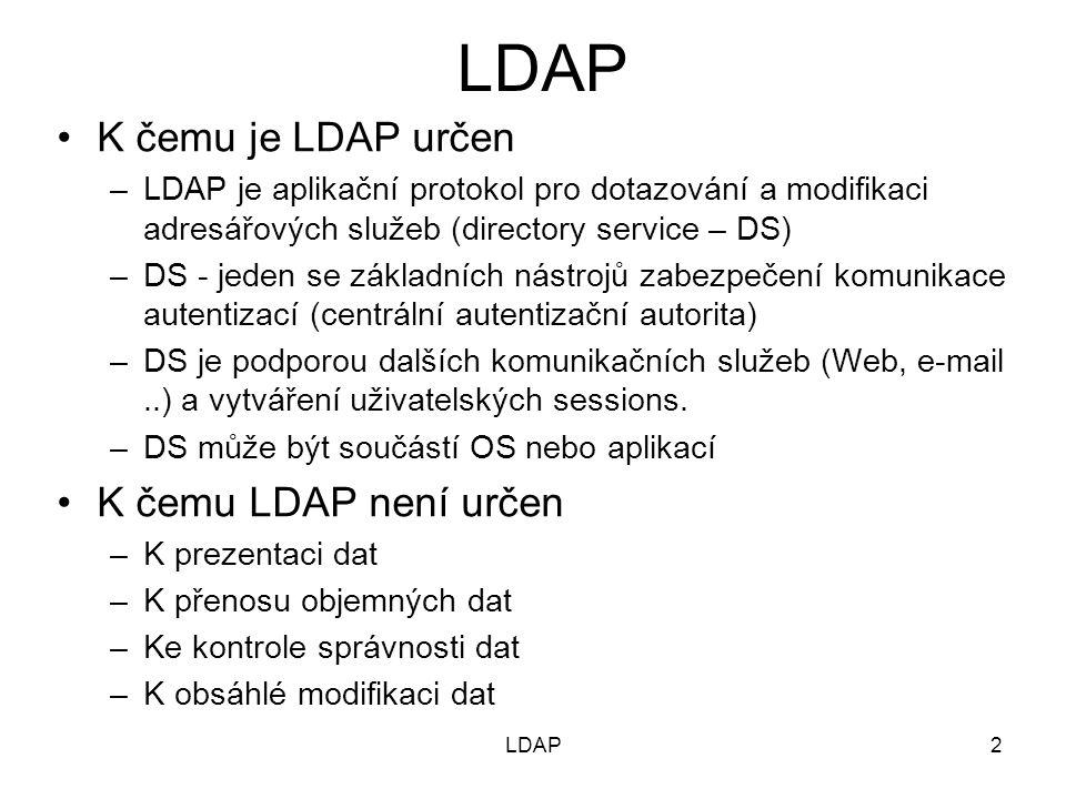 LDAP Příklad záznamu ze souboru passwd_students_ipi.ldif dn: uid=xhemala0,ou=People,dc=lab,dc=net uid: xhemala0 cn: Jakub Hemala sn: Hemala objectClass: person objectClass: organizationalPerson objectClass: inetOrgPerson objectClass: posixAccount objectClass: top objectClass: shadowAccount userPassword: {MD5}gWkZi09CZV3f+RzvpGgrKA== shadowLastChange: 13907 shadowMax: 99999 shadowWarning: 7 loginShell: /bin/bash uidNumber: 11124 gidNumber: 11000 homeDirectory: /home/xhemala0 LDAP23