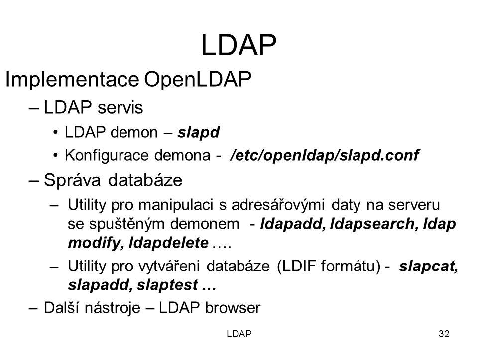 Implementace OpenLDAP –LDAP servis LDAP demon – slapd Konfigurace demona - /etc/openldap/slapd.conf –Správa databáze –Utility pro manipulaci s adresář