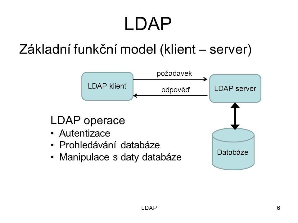 Bezpečnostní aspekty služby LDAP –Autentizace (operace bind, unbind, abandon) Přístup bez autentizace (anonymní) k veřejným informacím Jednoduchá autentizace – klient zadá DN uživatele + heslo (je uloženo jako hodnota atributu v příslušné položce) Přes rozhraní SASL (Simple Authentication and Security Layer) –Klient předá LDAP serveru DN autentizační entity, autentizační mechanismus (TLS/SSL) a autentizační data (credentials) –Autentizační modul provede autentizaci klienta –Autorizace Na principu ACL – není součástí specifikace LDAP –Zabezpečení proti odposlechu Přes vrstvu SSL/TLS - port 636 (LDAPS) 27LDAP