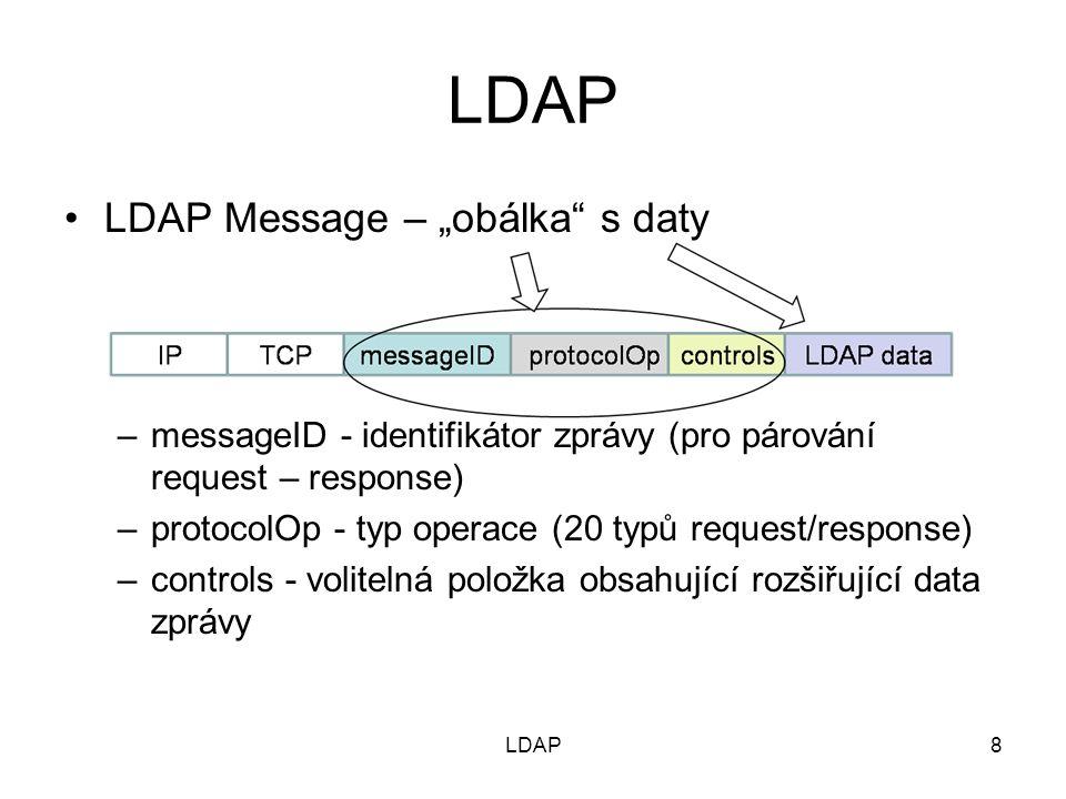"""LDAP Komunikace Klient naváže spojení (operace """"binding ) – klient musí znát IP adresu + port LDAP serveru) –Bez autentizace (anonymní) – veřejná data –S autentizací (prokázání identity) – privátní data Klient vysílá požadavky – operace nad daty Server vysílá odpovědi na požadavky Příklad: BindRequest - BindResponse ModifyRequest - ModifyResponse AddRequest – AddResponse DelRequest - DelResponse Klient uzavře spojení (operace """"unbinding ) 9LDAP"""