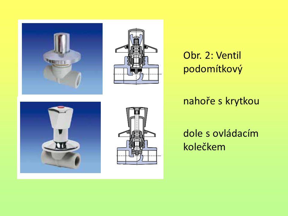 Obr. 2: Ventil podomítkový nahoře s krytkou dole s ovládacím kolečkem