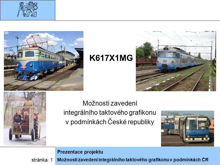 Možnosti zavedení integrálního taktového grafikonu v podmínkách ČR Prezentace projektu stránka: 1 K617X1MG Možnosti zavedení integrálního taktového gr