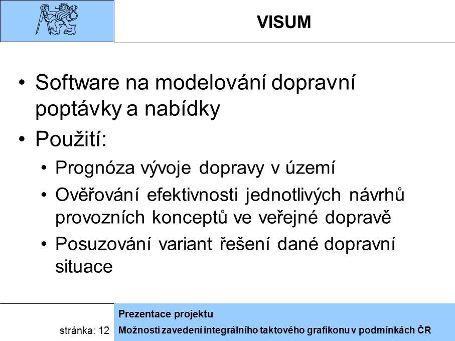 Možnosti zavedení integrálního taktového grafikonu v podmínkách ČR Prezentace projektu stránka: 12 VISUM Software na modelování dopravní poptávky a na