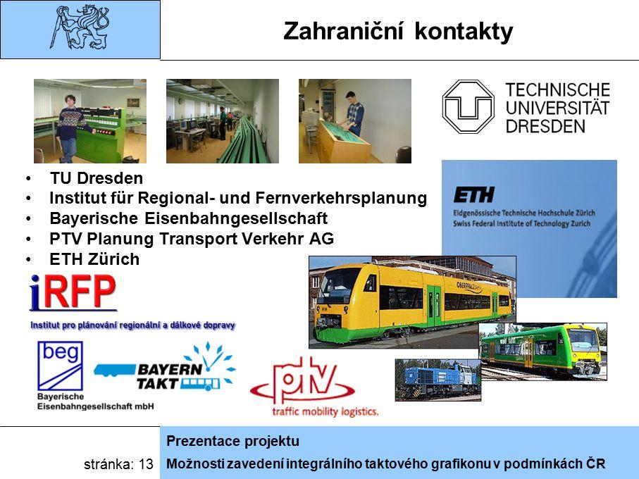 Možnosti zavedení integrálního taktového grafikonu v podmínkách ČR Prezentace projektu stránka: 13 Zahraniční kontakty TU Dresden Institut für Regional- und Fernverkehrsplanung Bayerische Eisenbahngesellschaft PTV Planung Transport Verkehr AG ETH Zürich