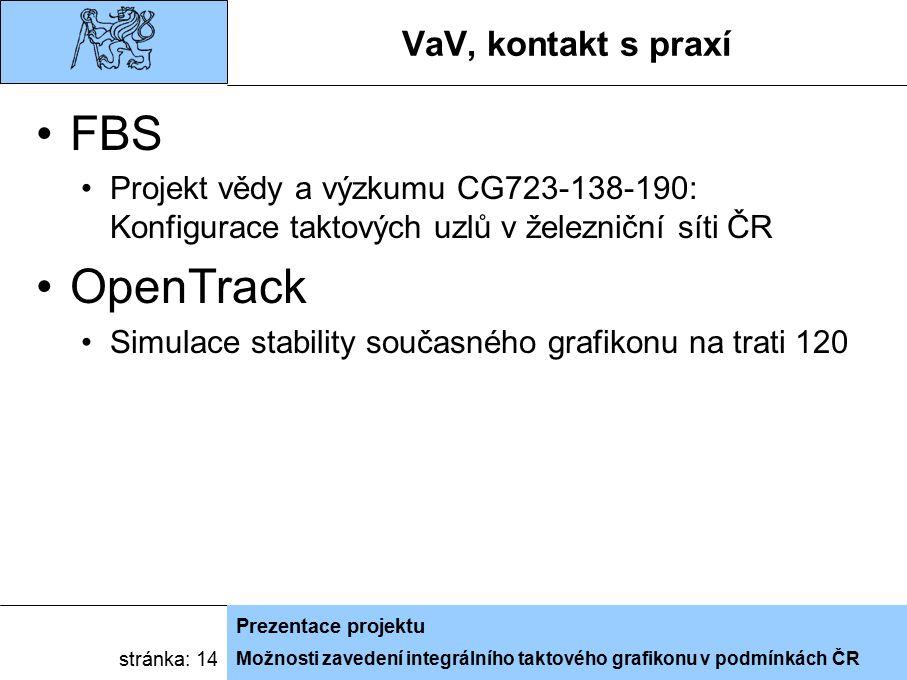 Možnosti zavedení integrálního taktového grafikonu v podmínkách ČR Prezentace projektu stránka: 14 VaV, kontakt s praxí FBS Projekt vědy a výzkumu CG7