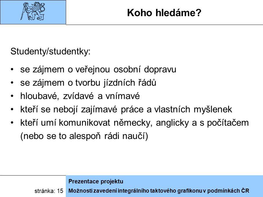 Možnosti zavedení integrálního taktového grafikonu v podmínkách ČR Prezentace projektu stránka: 15 Koho hledáme.