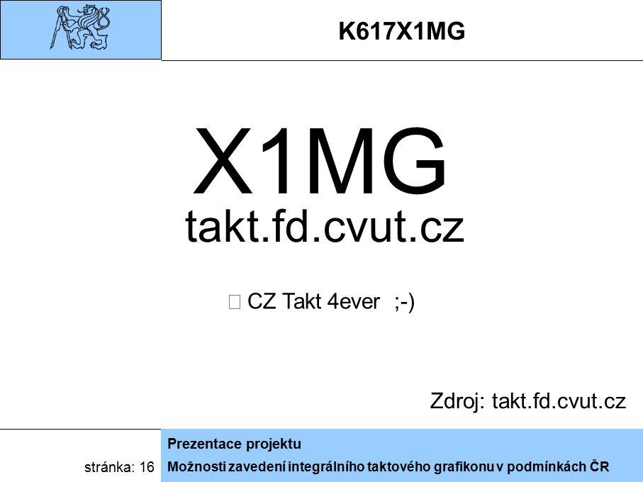 Možnosti zavedení integrálního taktového grafikonu v podmínkách ČR Prezentace projektu stránka: 16 K617X1MG Zdroj: takt.fd.cvut.cz X1MG  CZ Takt 4eve