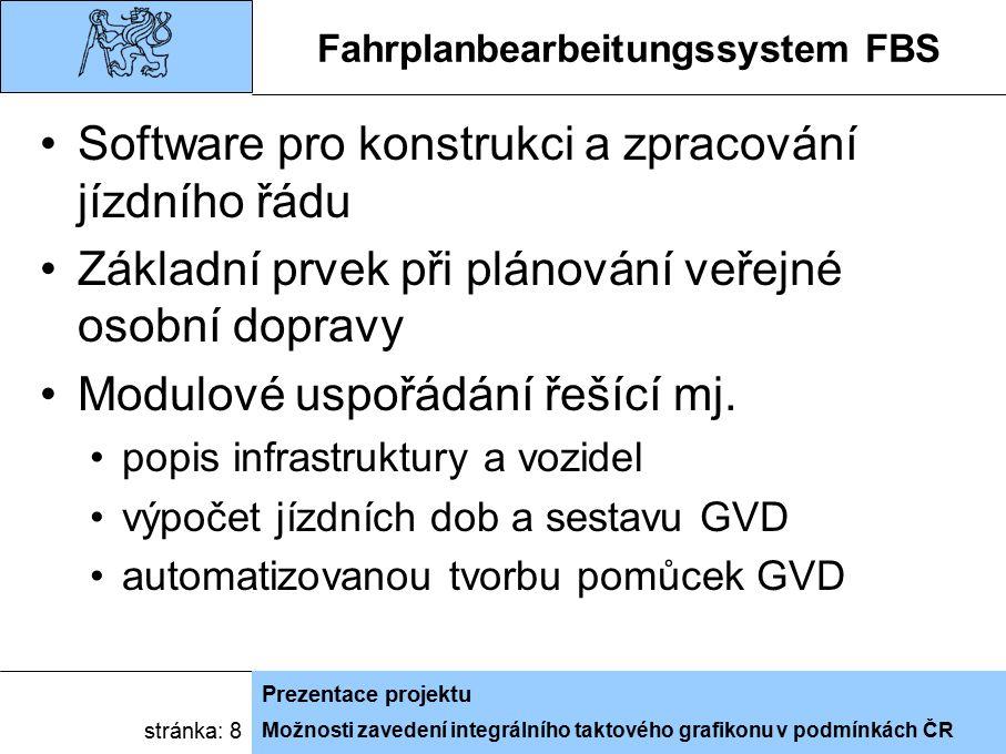 Možnosti zavedení integrálního taktového grafikonu v podmínkách ČR Prezentace projektu stránka: 8 Fahrplanbearbeitungssystem FBS Software pro konstrukci a zpracování jízdního řádu Základní prvek při plánování veřejné osobní dopravy Modulové uspořádání řešící mj.