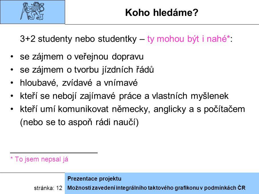 Možnosti zavedení integrálního taktového grafikonu v podmínkách ČR Prezentace projektu stránka: 12 Koho hledáme.