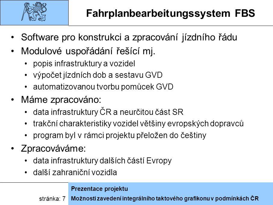 Možnosti zavedení integrálního taktového grafikonu v podmínkách ČR Prezentace projektu stránka: 7 Fahrplanbearbeitungssystem FBS Software pro konstrukci a zpracování jízdního řádu Modulové uspořádání řešící mj.