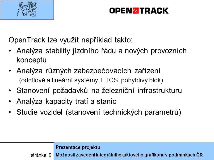 Možnosti zavedení integrálního taktového grafikonu v podmínkách ČR Prezentace projektu stránka: 9 OpenTrack lze využít například takto: Analýza stability jízdního řádu a nových provozních konceptů Analýza různých zabezpečovacích zařízení (oddílové a lineární systémy, ETCS, pohyblivý blok) Stanovení požadavků na železniční infrastrukturu Analýza kapacity tratí a stanic Studie vozidel (stanovení technických parametrů)