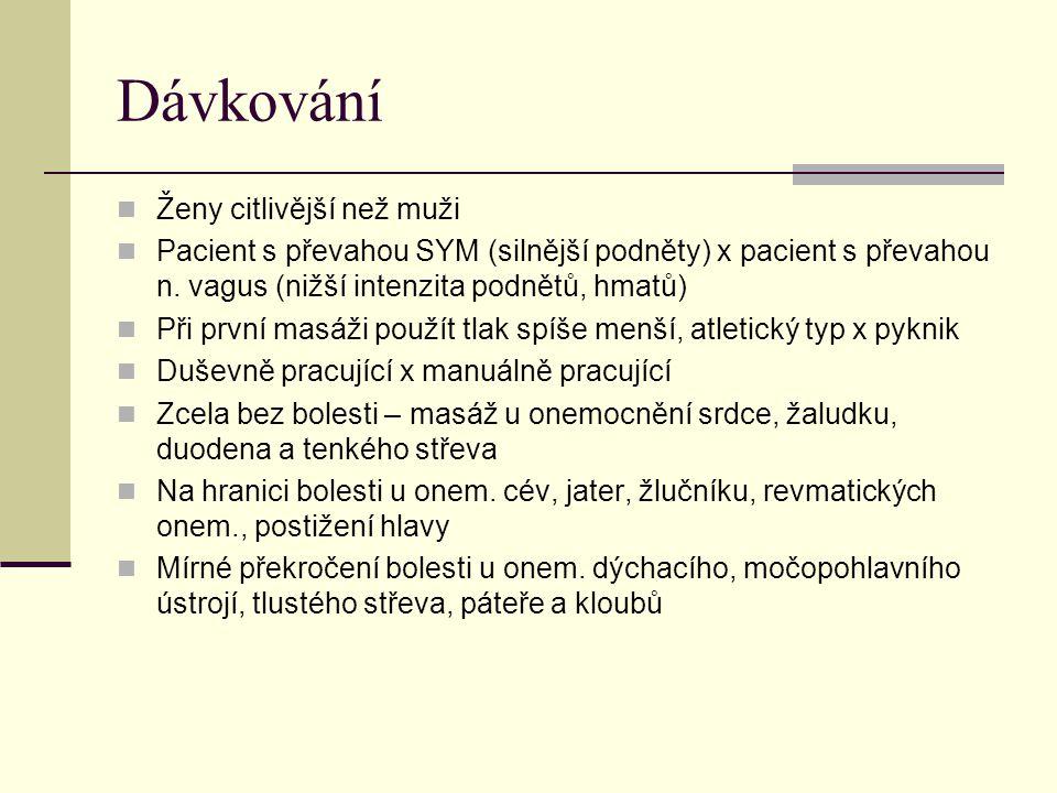 Dávkování Ženy citlivější než muži Pacient s převahou SYM (silnější podněty) x pacient s převahou n. vagus (nižší intenzita podnětů, hmatů) Při první