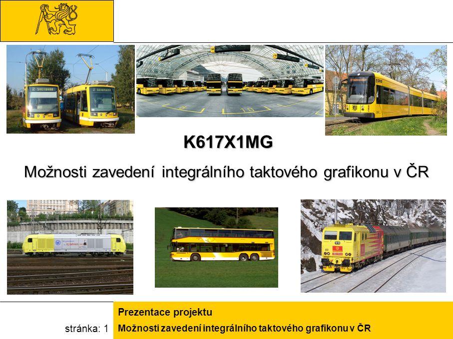 Možnosti zavedení integrálního taktového grafikonu v ČR Prezentace projektu stránka: 1 K617X1MG Možnosti zavedení integrálního taktového grafikonu v Č