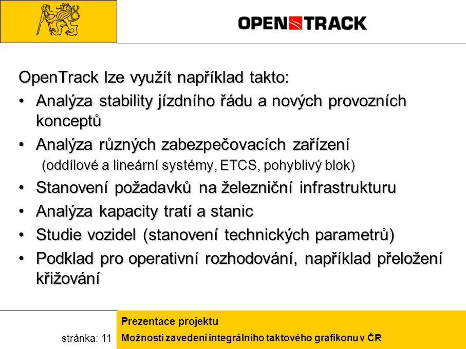Možnosti zavedení integrálního taktového grafikonu v ČR Prezentace projektu stránka: 11 OpenTrack lze využít například takto: Analýza stability jízdní