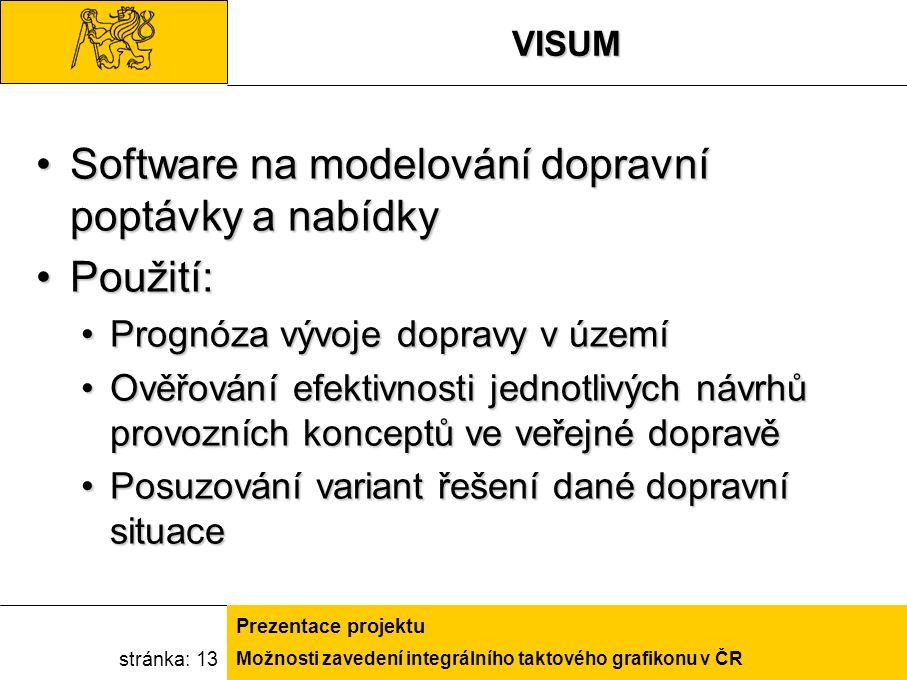Možnosti zavedení integrálního taktového grafikonu v ČR Prezentace projektu stránka: 13VISUM Software na modelování dopravní poptávky a nabídkySoftwar