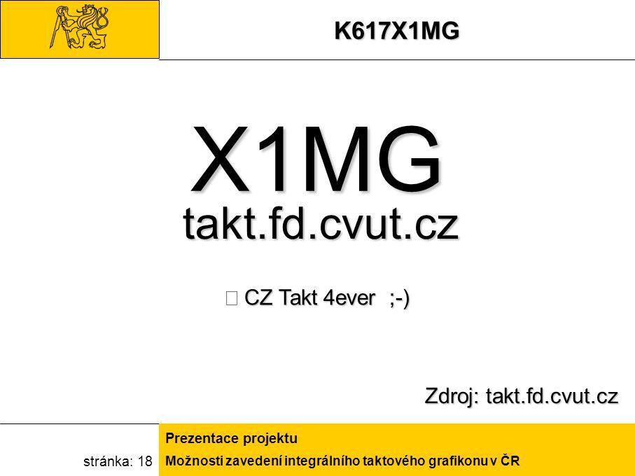 Možnosti zavedení integrálního taktového grafikonu v ČR Prezentace projektu stránka: 18K617X1MG Zdroj: takt.fd.cvut.cz X1MG CZ Takt 4ever ;-) takt.fd