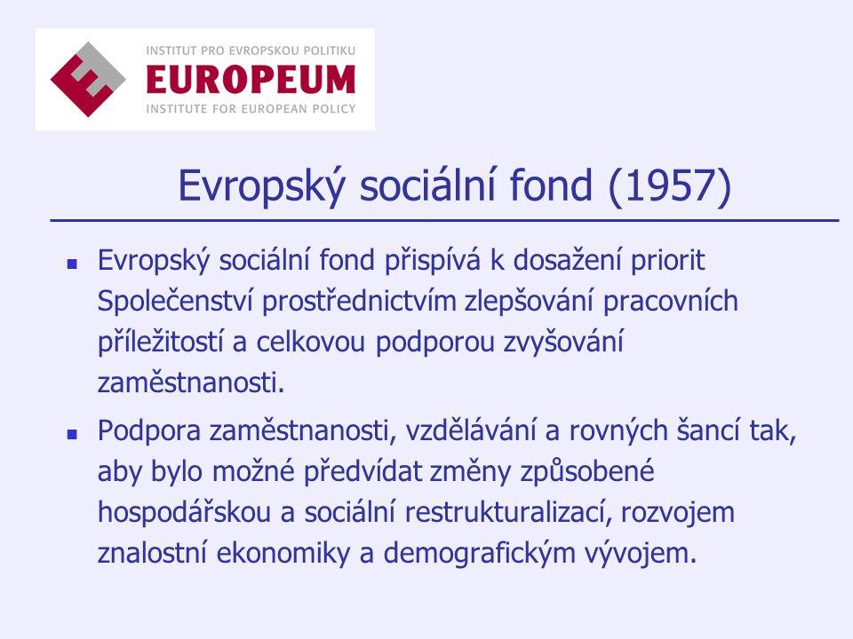 Evropský sociální fond (1957) Evropský sociální fond přispívá k dosažení priorit Společenství prostřednictvím zlepšování pracovních příležitostí a celkovou podporou zvyšování zaměstnanosti.