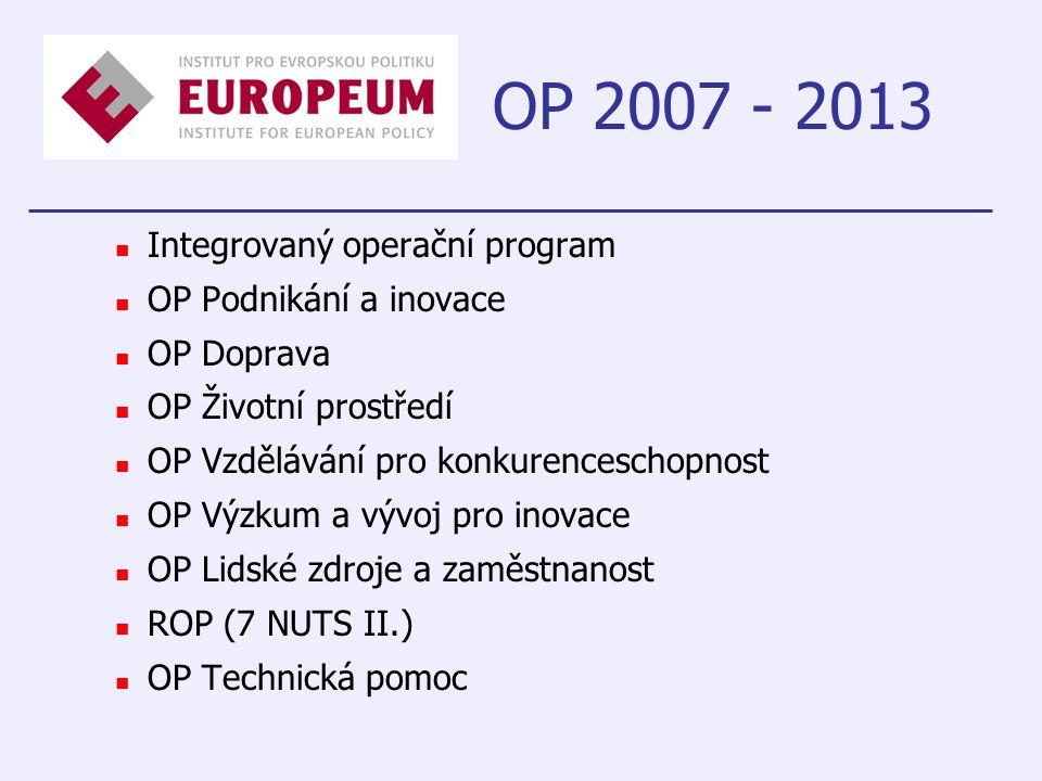 OP 2007 - 2013 Integrovaný operační program OP Podnikání a inovace OP Doprava OP Životní prostředí OP Vzdělávání pro konkurenceschopnost OP Výzkum a vývoj pro inovace OP Lidské zdroje a zaměstnanost ROP (7 NUTS II.) OP Technická pomoc