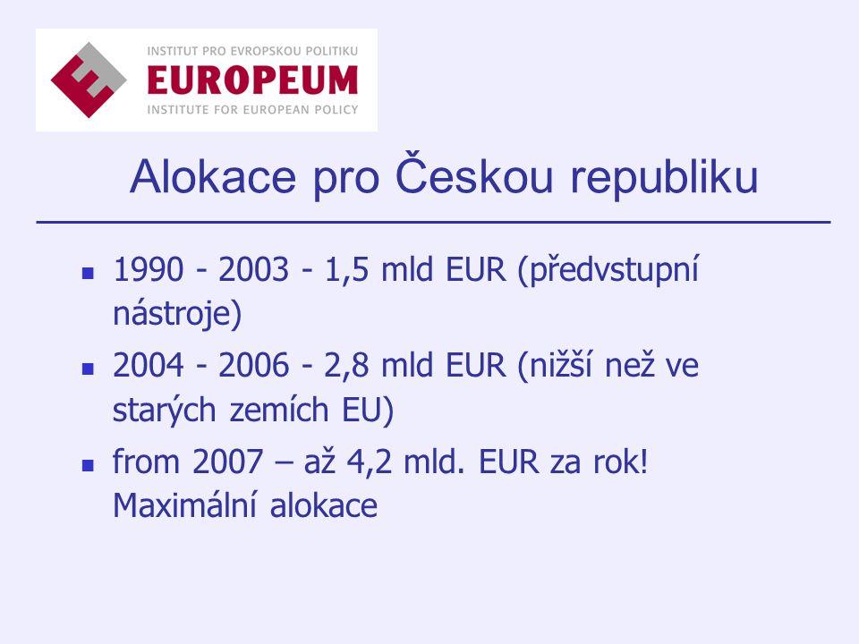 Alokace pro Českou republiku 1990 - 2003 - 1,5 mld EUR (předvstupní nástroje) 2004 - 2006 - 2,8 mld EUR (nižší než ve starých zemích EU) from 2007 – až 4,2 mld.