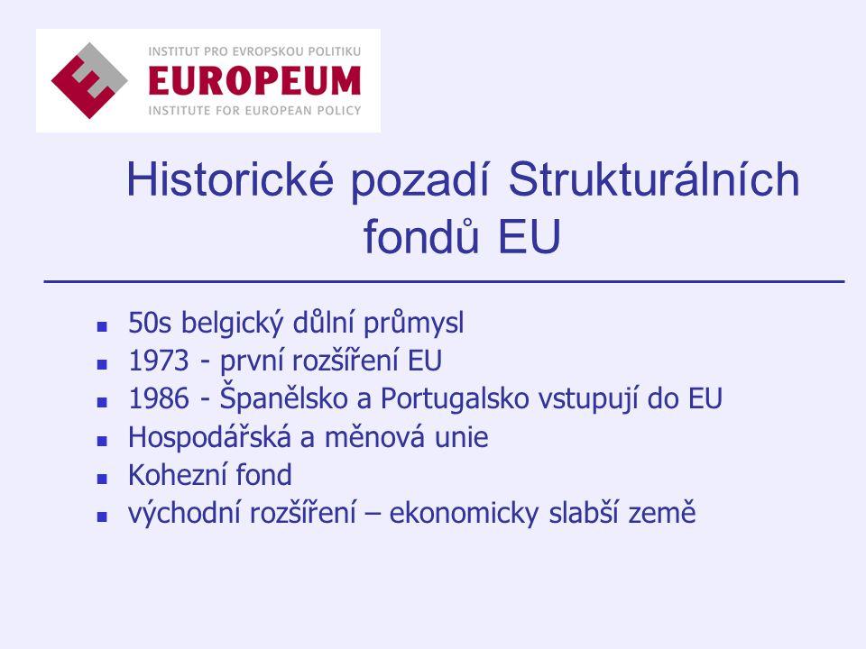 Historické pozadí Strukturálních fondů EU 50s belgický důlní průmysl 1973 - první rozšíření EU 1986 - Španělsko a Portugalsko vstupují do EU Hospodářská a měnová unie Kohezní fond východní rozšíření – ekonomicky slabší země