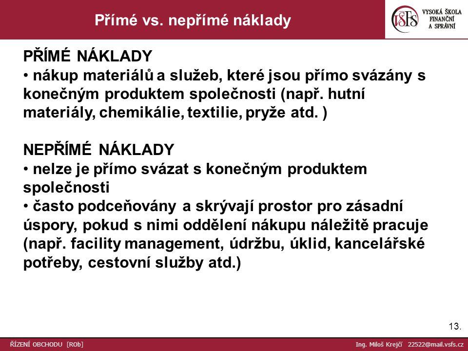 13. ŘÍZENÍ OBCHODU [ROb] Ing. Miloš Krejčí 22522@mail.vsfs.cz Přímé vs.