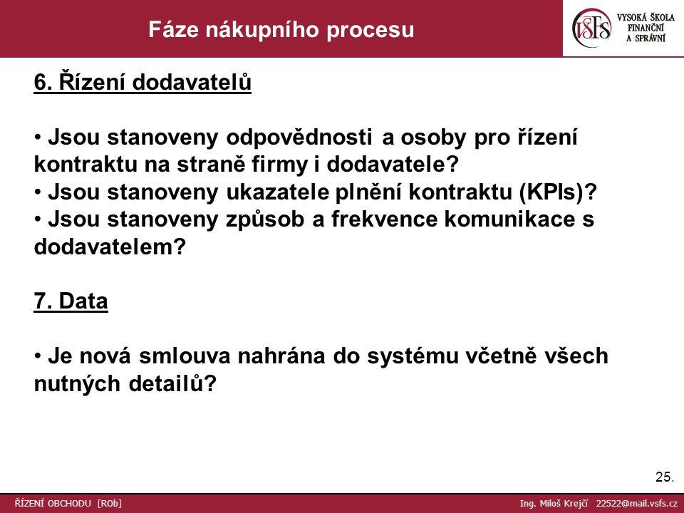 25. ŘÍZENÍ OBCHODU [ROb] Ing. Miloš Krejčí 22522@mail.vsfs.cz Fáze nákupního procesu 6.