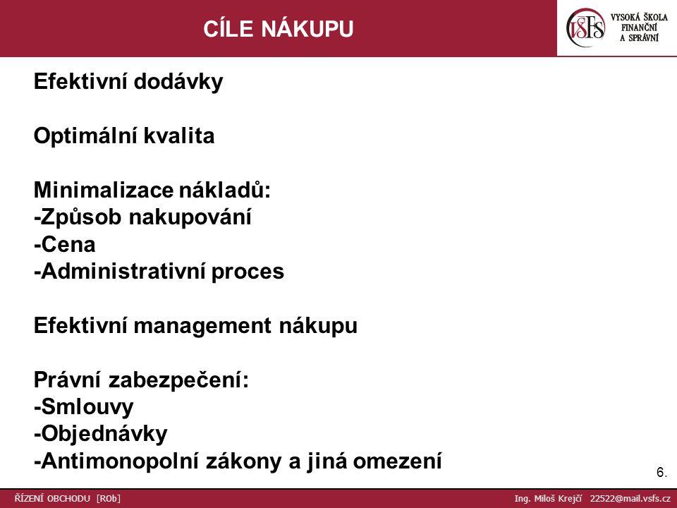 27.Děkuji za pozornost Ing. Miloš Krejčí 22522@mail.vsfs.cz ŘÍZENÍ OBCHODU [ROb] Ing.