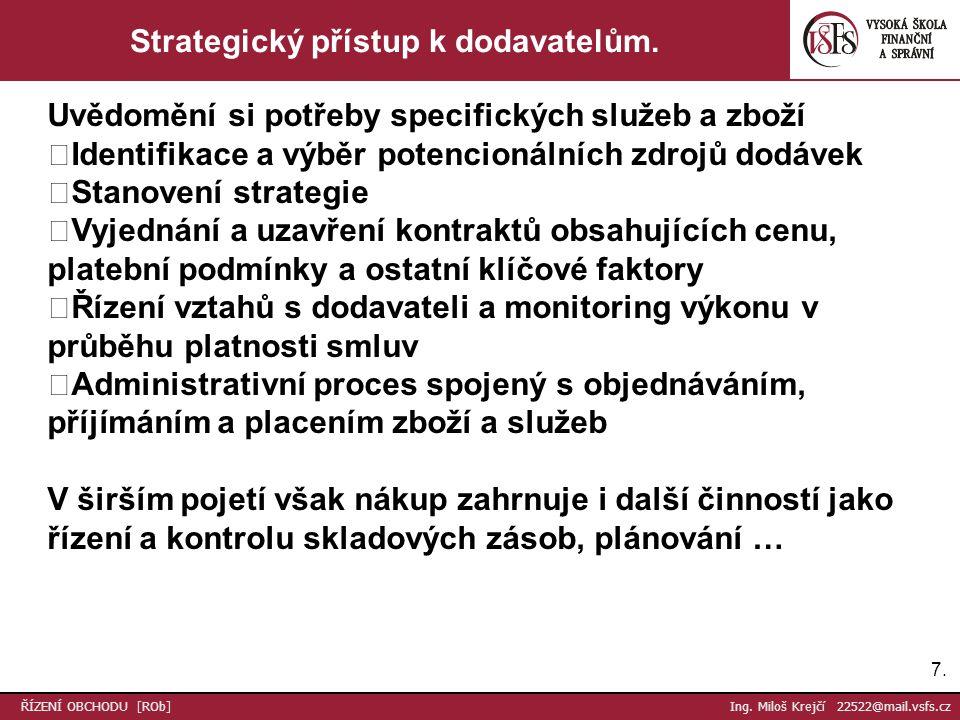 7.7. ŘÍZENÍ OBCHODU [ROb] Ing. Miloš Krejčí 22522@mail.vsfs.cz Strategický přístup k dodavatelům.