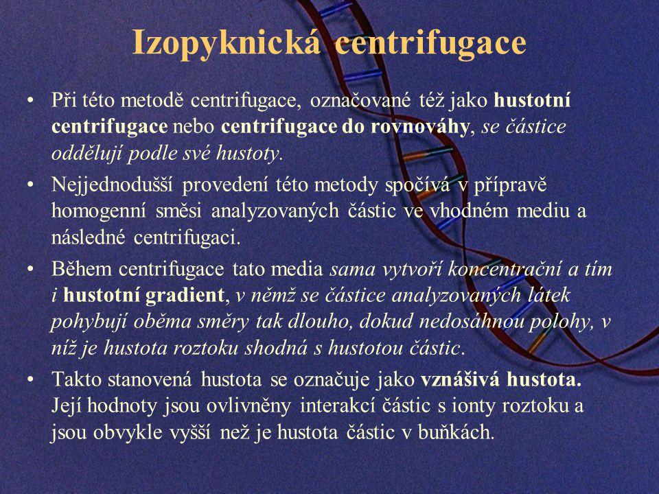 Izopyknická centrifugace Při této metodě centrifugace, označované též jako hustotní centrifugace nebo centrifugace do rovnováhy, se částice oddělují podle své hustoty.