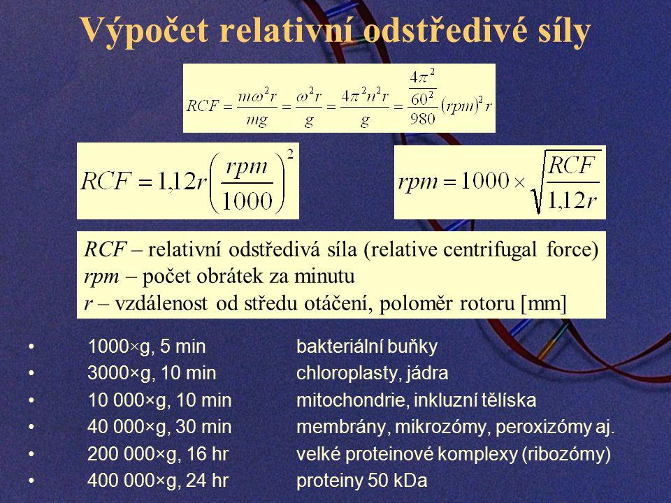 Výpočet relativní odstředivé síly 1000×g, 5 minbakteriální buňky 3000×g, 10 minchloroplasty, jádra 10 000×g, 10 min mitochondrie, inkluzní tělíska 40 000×g, 30 minmembrány, mikrozómy, peroxizómy aj.