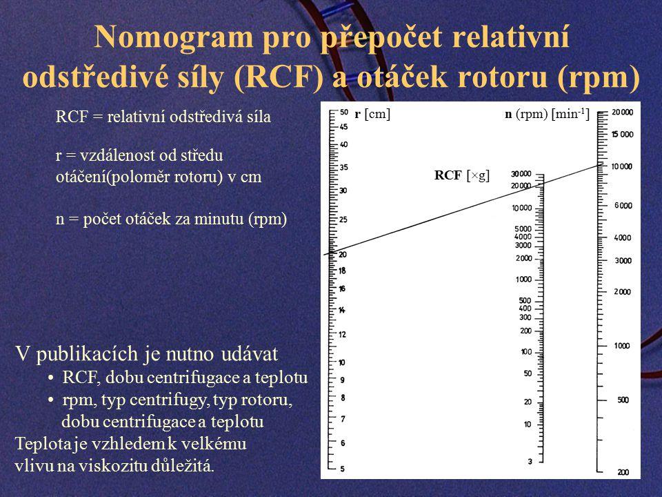 Nomogram pro přepočet relativní odstředivé síly (RCF) a otáček rotoru (rpm) RCF = relativní odstředivá síla r = vzdálenost od středu otáčení(poloměr rotoru) v cm n = počet otáček za minutu (rpm) r [cm] RCF [×g] n (rpm) [min -1 ] V publikacích je nutno udávat RCF, dobu centrifugace a teplotu rpm, typ centrifugy, typ rotoru, dobu centrifugace a teplotu Teplota je vzhledem k velkému vlivu na viskozitu důležitá.
