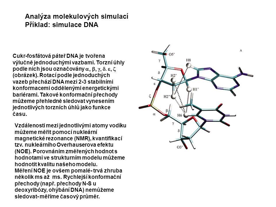 Analýza molekulových simulací Příklad: simulace DNA Cukr-fosfátová páteř DNA je tvořena výlučně jednoduchými vazbami.