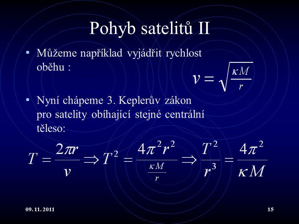 09.11. 201115 Pohyb satelitů II Můžeme například vyjádřit rychlost oběhu : Nyní chápeme 3.
