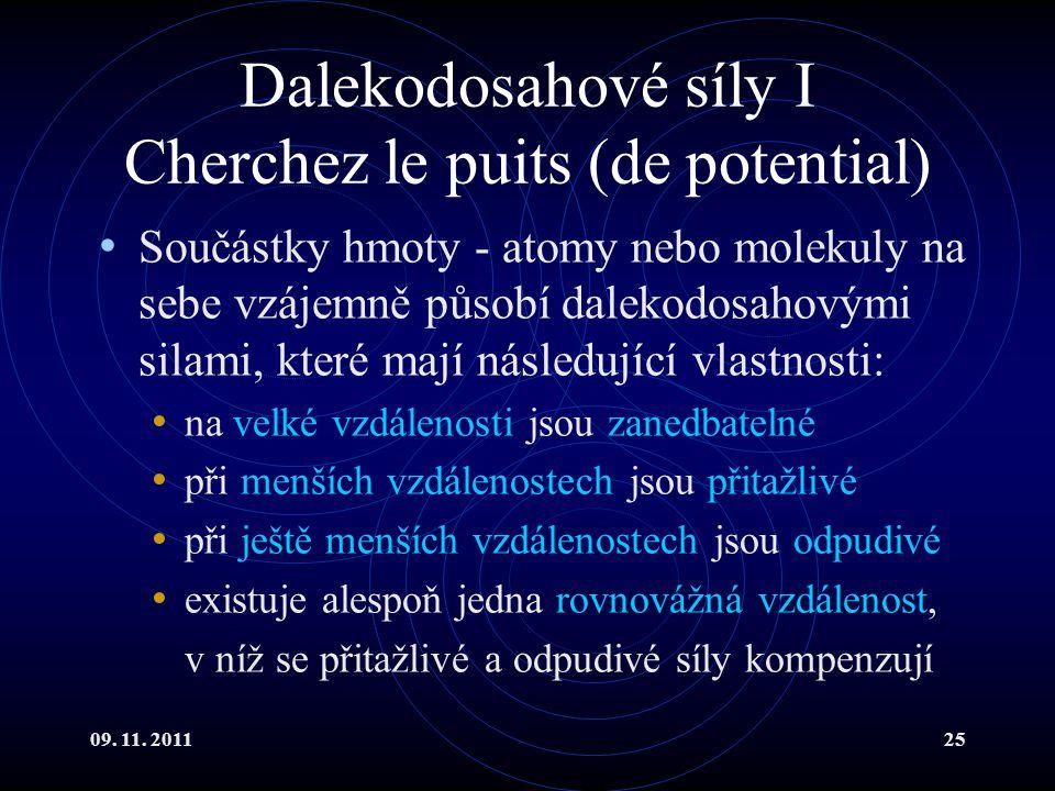09. 11. 201125 Dalekodosahové síly I Cherchez le puits (de potential) Součástky hmoty - atomy nebo molekuly na sebe vzájemně působí dalekodosahovými s