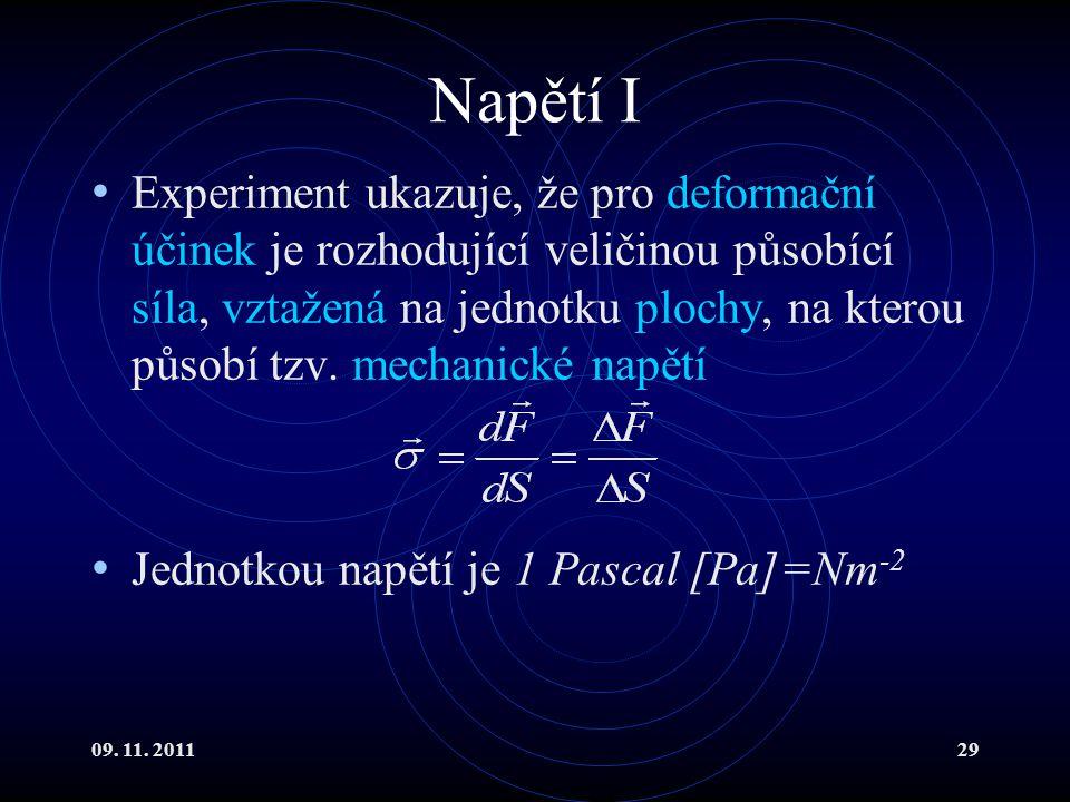 09. 11. 201129 Napětí I Experiment ukazuje, že pro deformační účinek je rozhodující veličinou působící síla, vztažená na jednotku plochy, na kterou pů
